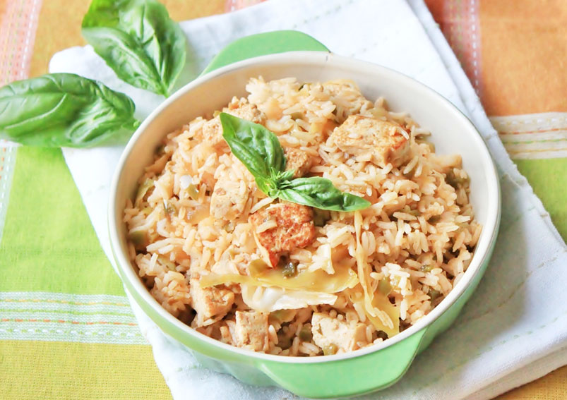 Indo Chinese Style 5 Spice Tofu and Bean Sprouts Rice Recipe