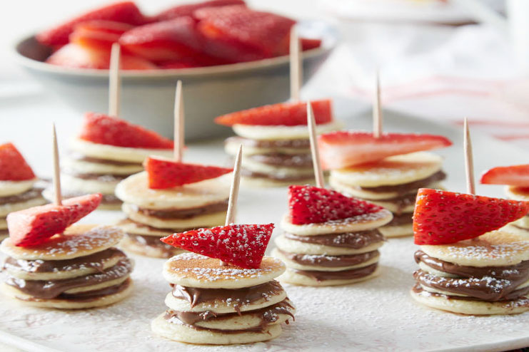 Nutella and Strawberry Mini Pancake Recipe